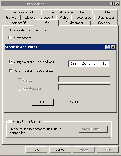 How to assign static ip address